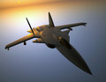 Jet fighter with sun reflection suchoi berkut flying trough the sky sunset behind the aircraft Royalty Free Stock Photography