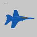 Jet fighter vector illustration. Military aircraft. Carrier-based aircraft. Modern supersonic fighter Royalty Free Stock Photo