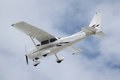 A prop plane landing Royalty Free Stock Photo