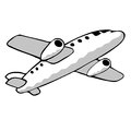Jet plane simple hand drawn aeroplane illustration Royalty Free Stock Images