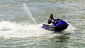 Jet ski aerobatics by jetski freestyle team during at aeronautic show morii lake bucharest Stock Images