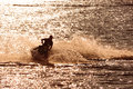 Jet ski man on turns fast on the water Stock Photography