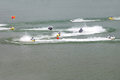 Jet ski race in the wide river Stock Photo