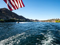 Jet skiing on the Colorado River Royalty Free Stock Photo