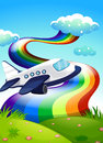 A jetplane near the hilltop with a rainbow illustration of Royalty Free Stock Photo