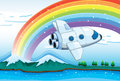 A jetplane near the rainbow illustration of Stock Photos