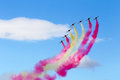 Jets formation with color smoke patrulla ã guila spanish aerobatic group on the airshow siaf slovakia sliac Royalty Free Stock Images