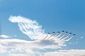 Jets formation patrulla ã guila spanish aerobatic group on the airshow siaf slovakia sliac Royalty Free Stock Photography