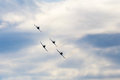 Jets formation on the sky Royalty Free Stock Photo