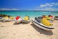 Jetski on paradise island beach of atlandtis nassau bahamas Royalty Free Stock Images