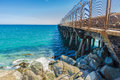 Jetty with barbed wire industrial protected to prevent passage in barcelona catalonia spain Royalty Free Stock Photography