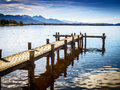 Jetty at the chiemsee in germany with blue sky Stock Photography
