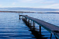 Jetty fiskebaeckskil sweden into gullmarn at on the bohuslan coast of with diving board Royalty Free Stock Photography