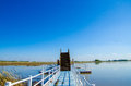 Jetty on lake in binjiang wetland china Royalty Free Stock Images