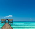 Jetty over the indian ocean turquoise Royalty Free Stock Photo
