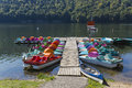 Jetty and pedal boats empty on the lake in roznow poland Stock Photography