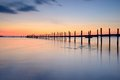 Jetty at sunset from a lowl angle Royalty Free Stock Photos