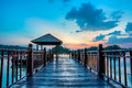 Jetty at wetland putrajaya lake during sunset Stock Photos