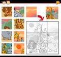 Jeu de puzzle d animaux de safari de bande dessinée Image stock
