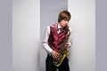Jeu du saxophone Photo stock