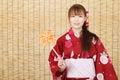 Jeune femme asiatique dans le kimono Photo libre de droits