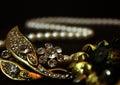 Jewel decoration beautiful ornation glimpse of glittering gems the diamonds studded on the brass ang golden emblems Stock Photos