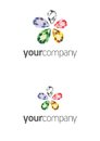 Jewel flower logo two types crystal vector Stock Photos