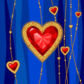 Jewel heart jewelry with red ruby on blue background Stock Photography