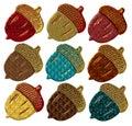Jeweled Acorns Stock Photo