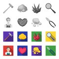 Jeweler, pliers, gold ore, garnet in the form of heart. Precious minerals and jeweler set collection icons in monochrome