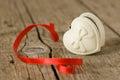 Jewelery box in heart shape Royalty Free Stock Photo
