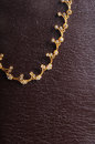Jewellery gold necklace on textured lether background Stock Photo