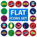 Jewelry and accessories flat icons in set collection for design.Decoration vector symbol stock web illustration.