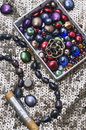 Jewelry and beaded handmade composition the objects of Royalty Free Stock Photos