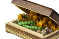 Jewelry box with beads wooden made of natural stones Stock Images