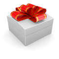 Jewelry box with a ribbon isolated render on white background Royalty Free Stock Photos