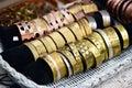 Jewelry bracelet brass at handicraft market Royalty Free Stock Image