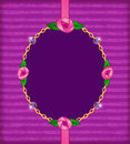 Jewelry card with pink roses gold chain and amethyst invitation gems Stock Images