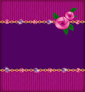 Jewelry card with pink roses gold chain and jems invitation gems Royalty Free Stock Photography
