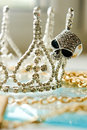 Jewelry with crystals and onyx Royalty Free Stock Photography