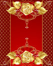 Jewelry design with a gold rose Royalty Free Stock Image