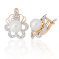 Jewelry earrings with pearl and diamonds Royalty Free Stock Photography
