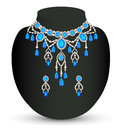 Jewelry female necklace and earrings with blue jewels illustration Stock Images