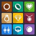 Jewelry flat icons set pearl luxury for web and mobile applications Royalty Free Stock Image