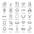 Jewelry flat line icons, jewellery store signs. Jewels accessories