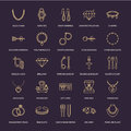 Jewelry flat line icons, jewellery store signs. Jewels accessories - gold engagement rings, gem earrings, silver chain Royalty Free Stock Photo