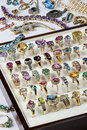 Jewelry gemstones rings a collection of and other including diamonds ruby emeralds garnets amethyst etc Stock Image