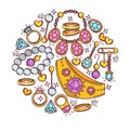 Jewelry gold and gemstones vector poster flat design