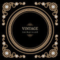 Jewelry gold round frame vintage background and corners on black Stock Image