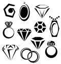 Jewelry icon set simple black including rings pendants diamonds on white background Stock Photography